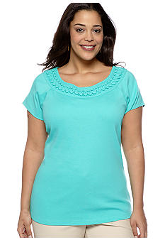 Rafaella Form + Function Plus Size Embellished Neckline Knit Top