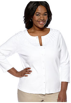 Rafaella Form + Function Plus Size Embellished Knit Cardigan