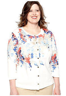 Rafaella Form + Function Plus Size Cherry Blossom Bouquet Cardigan