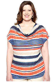 Rafaella Form + Function Plus Size Sheer Striped Tunic