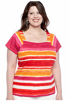 Rafaella Form + Function Plus Size Ombre Stripe Shirt