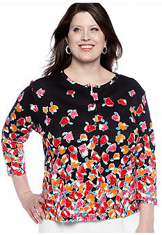 Rafaella Form + Function Plus Size Rose Border Cardigan