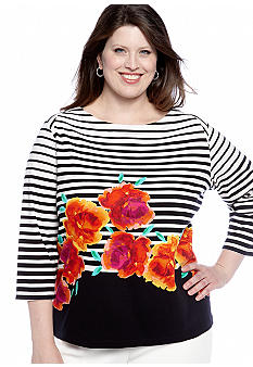 Rafaella Form + Function Plus Size Striped Floral Top