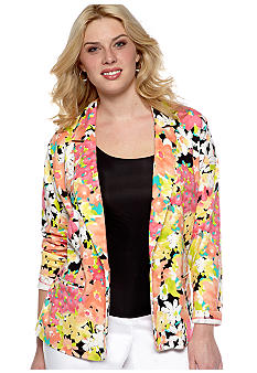 Rafaella Form + Function Plus Size Floral Print Jacket