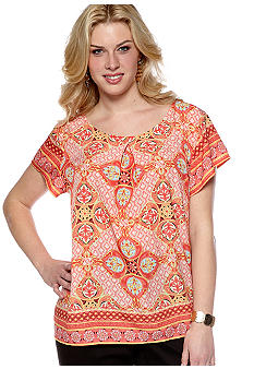 Rafaella Form + Function Plus Size Scarf Print Blouse