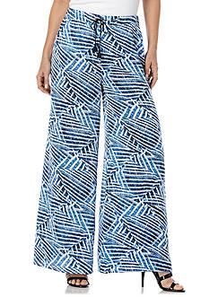 Rafaella Petite Basket-Weave Print Soft Pants