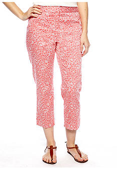 Rafaella Form + Function Petite White Bloom Printed Classic Fit Capri