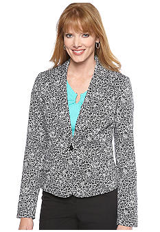 Rafaella Form + Function Petite White Bloom Floral Print Blazer