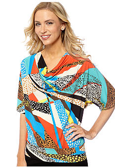 Rafaella Form + Function Petite Crepe Cowl Neck Top with Multi Animal Print