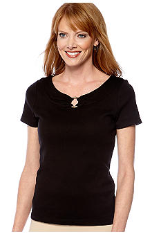 Rafaella Form + Function Petite Scoop Neck Cap Sleeve Tee with Metal Ring Embellishment