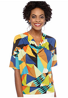 Rafaella Form + Function Petite Jewel Box Printed Top with Dolman Sleeves