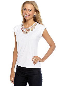 Rafaella Form + Function Petite Crochet Embroidered Top