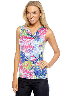 Rafaella Form + Function Petite Tropical Print Top