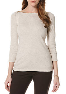 Rafaella Petite Size Zipper Neck Top