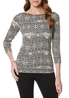 Rafaella 3/4 Sleeve Zipper Neck Tiled Top
