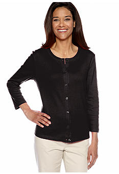 Rafaella Form + Function Petite Solid Ribbed Cardigan