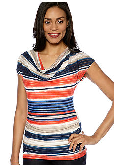 Rafaella Form + Function Petite Sheer Striped Tunic