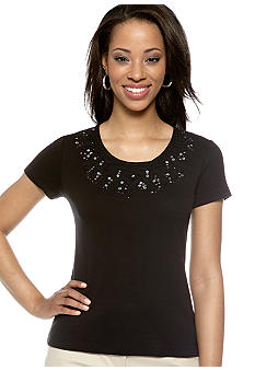 Rafaella Form + Function Petite Embellished Scoop Neck Top