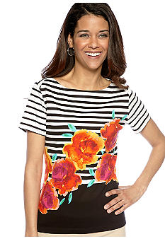 Rafaella Form + Function Petite Striped Floral Boat Neck Top