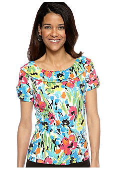 Rafaella Form + Function Petite Garden Print Marilyn Top