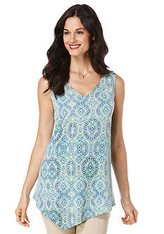 Rafaella Petite Scroll Print Asymmetrical Top
