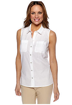 Rafaella Form + Function Petite Sleeveless Button Down Blouse