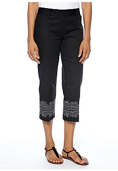 Rafaella Form + Function Embroidered Hemline Capri