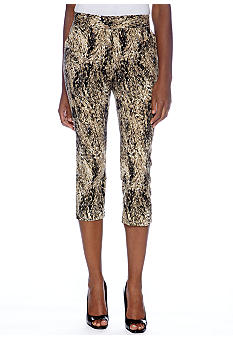 Rafaella Form + Function Texture Animal Printed Capris