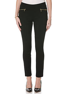 Rafaella Solid Powerstretch Classic Fit Slim Leg Pants