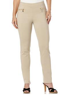 Rafaella Solid Powerstretch Classic Fit Slim Leg Pants