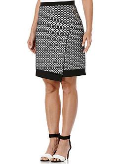 Rafaella Jacquard Ponte Faux Wrap Skirt