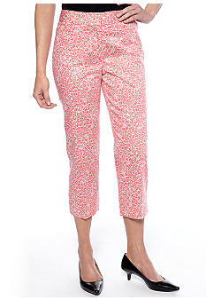 Rafaella Form + Function White Bloom Printed Classic Fit Capri