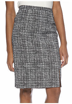 Rafaella Form + Function Plaid Pencil Skirt