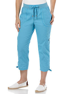Rafaella Poplin Cargo Capri Pants