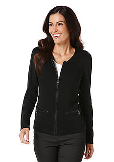 Rafaella Leather Trim Cardigan