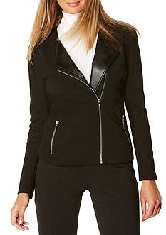 Rafaella Pleather Ponte Jacket