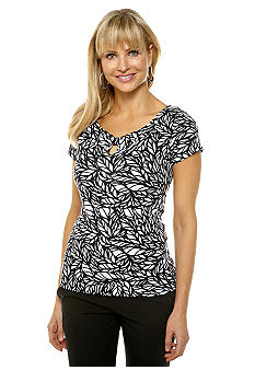 Rafaella Form + Function Jungle Print Keyhole Top