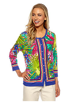 Rafaella Form + Function Tropical Print Cardigan