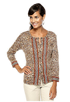 Rafaella Form + Function Abstract Animal Print Cardigan