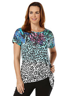 Rafaella Animal Print Burnout Tee