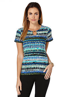 Rafaella Printed Short Sleeve Knit Top with Keyhole