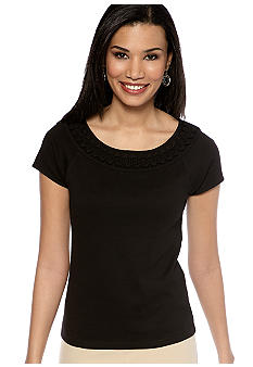 Rafaella Form + Function Embellished Neckline Knit Top
