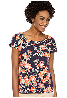 Rafaella Form + Function Cherry Blossom Print Top