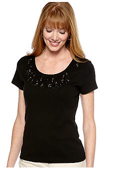 Rafaella Form + Function Embellished Scoop Neck Tee