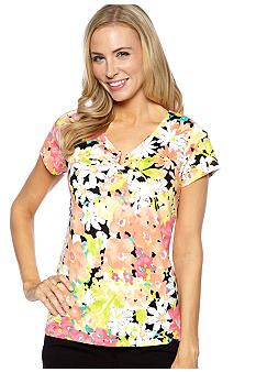 Rafaella Form + Function Flower Print Horseshoe Neck Top