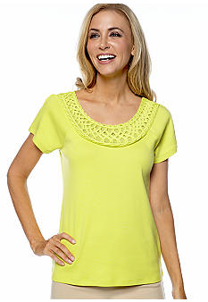 Rafaella Form + Function Scoop Neck Top with Mesh Embellished Neckline