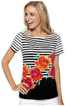 Rafaella Form + Function Striped Floral Boat Neck Top