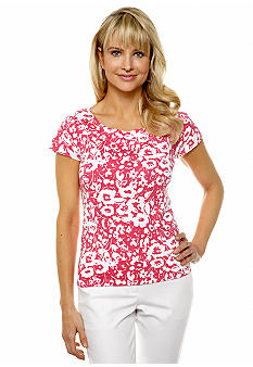 Rafaella Form + Function Bi-Color Floral Print Top