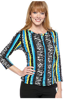 Rafaella Form + Function Striped Animal Print Cardigan