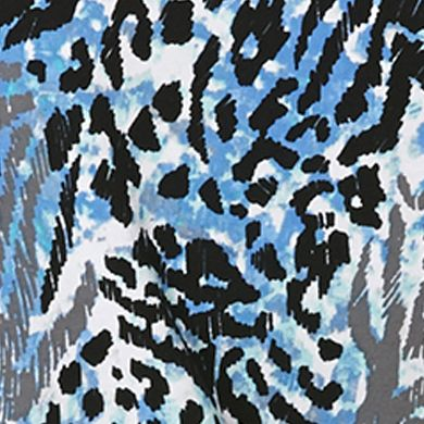Women's T-shirts: Island Turquoise Rafaella Animal Print Roll Tab Tee